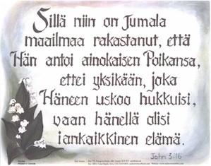 Finnish John 3:16