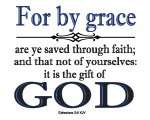 Ephesians 2:8 Text, Blue design