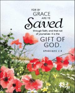 Ephesians 2:8 text, flower design