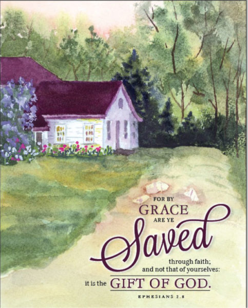 Ephesians 2:8 text, cottage watercolor