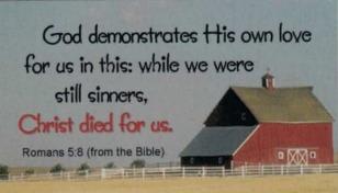 Romans 5:8 Barn Magnet